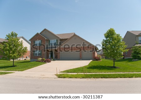 Suburban Neighborhood Brick Homes - a spring day in the burbs.