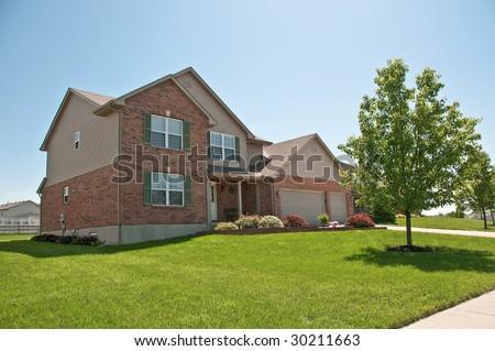 Suburban Neighborhood Brick Homes - a spring day in the burbs.