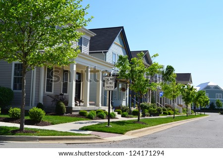 Suburban Neighborhood of New England Style American Dream Homes