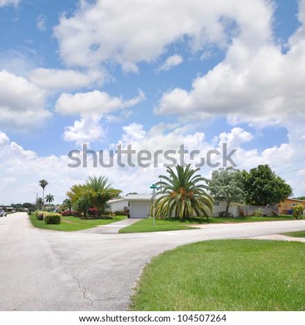 Suburban Neighborhood Street Blue Sky Clouds