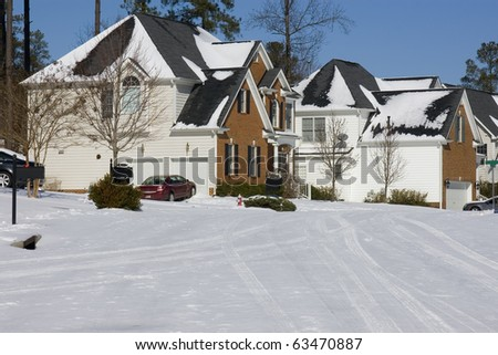Suburban neighborhood street in winter