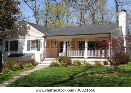 Suburban Ranch House with Porch