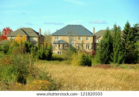 Suburban residential area outside Toronto - stock photo