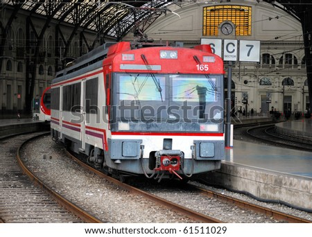 suburban train at railway station in barcelona