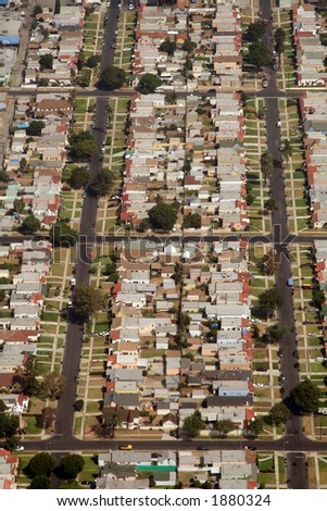 suburbs in california, aerial view