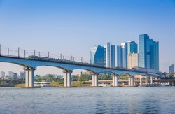 Subway and Bridge at Hanriver in Seoul, South korea