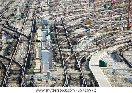 subway depot , joint , sleepers and rails railroad transportation industry