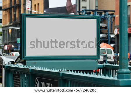 Subway entrance billboard. Clipping path included