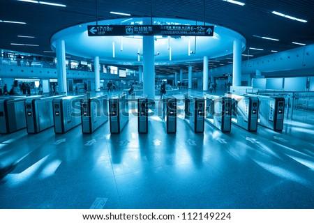 subway entrance gate in shanghai metro transfer center
