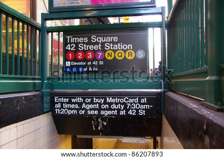 Subway entrance in Times Square, New York City