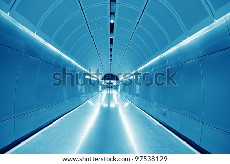 subway passageway with urban blues in guangzhou