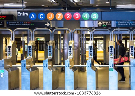 Subway station entrance in downtown Manhattan, New York City #1033776826