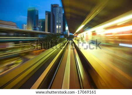 subway station on blur motion - stock photo