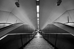 subway station staircase in black and white