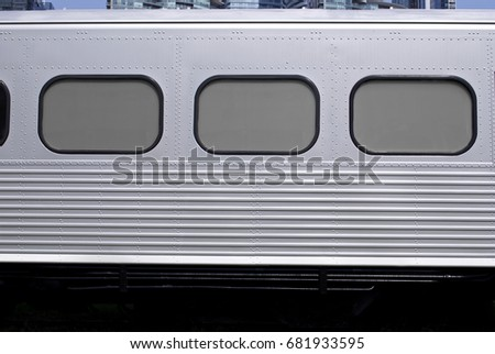 Subway Train Background / Texture - Silver Metal Train Wagon With Passenger Windows