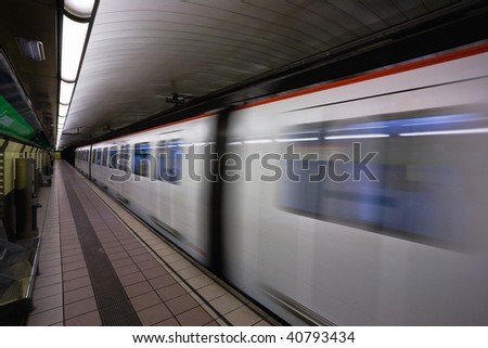 Subway train in Barcelona, Spain