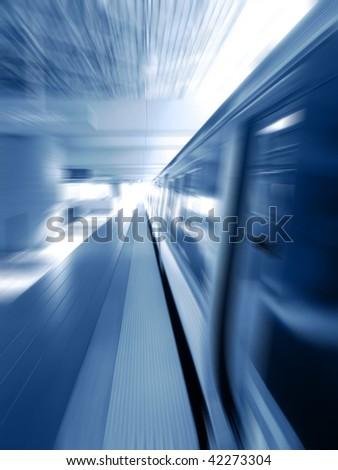 Subway train rail car with open door