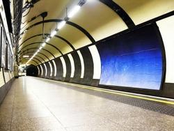 subway tube underground platform station in London