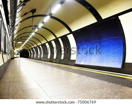 subway tube underground platform station in London #75006769