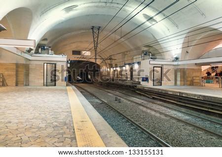 subway tube underground platform station in Rome, Italy #133155131