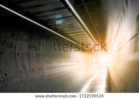 Subway Tunnel Construction, Futuristic tunnel, Underground passage with lights blur background, Construction Industry, Tunnel, Transportation, Subway, Boring Tunnel, Wall Concrete