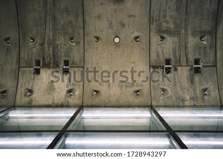 Subway Tunnel Construction, Futuristic tunnel, Underground passage with lights blur background, Construction Industry, Tunnel, Transportation, Subway, Boring Tunnel, Wall Concrete background.