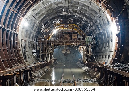 Subway tunnel in construction stock photo