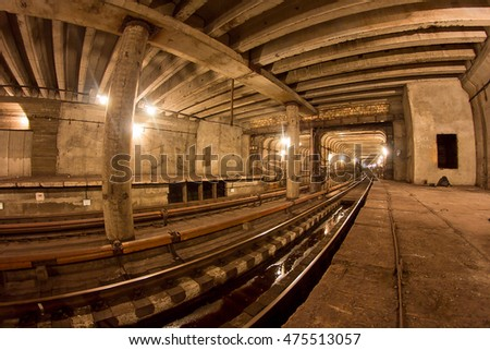 Subway tunnel. Kiev, Ukraine. Kyiv, Ukraine #475513057