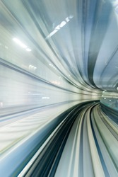 Subway tunnel with Motion blur of a city from inside, monorail in Tokyo.
