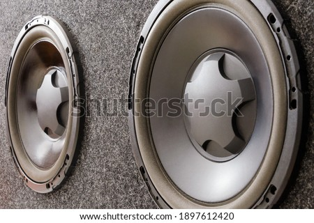 Subwoofer box for car with two subwoofer speakers. Close up Сток-фото ©