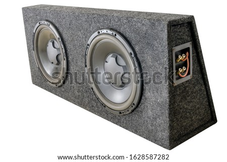 Subwoofer box for car with two subwoofer speakers. Isolated on a white background Сток-фото ©