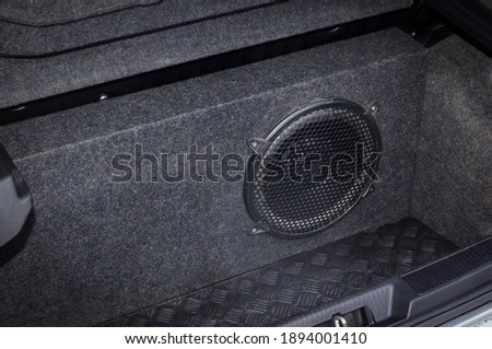 Subwoofer box with one subwoofer driver. Car audio system concept Сток-фото ©