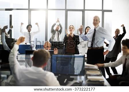 Success Achievement Corporate Business People Celebration Concept