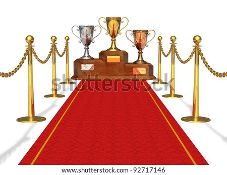 Success and achievement concept: trophy cups on pedestal and red carpet isolated on white background - stock photo