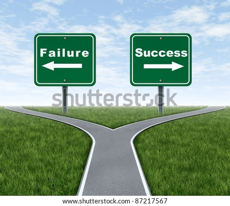Success and failure symbol with a forked road and road sign as Failing and another successfully with arrows for turning in the direction that is chosen after facing the difficult dilemma. - stock photo