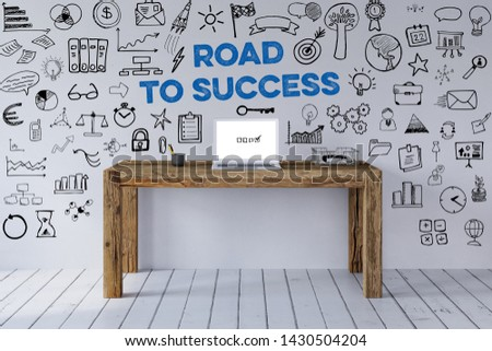 Success and success concept with slogan and icons around workplace with laptop (3d rendering)