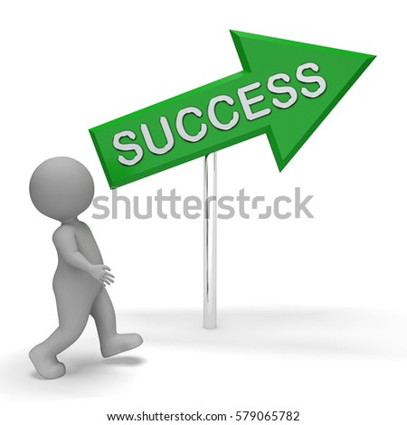 Success Arrow Sign Means Resolution Winner 3d Rendering