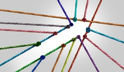 Success business arrow connection as diverse ropes united together to form a shape of positive diversity achievement.