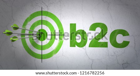 Success business concept: arrows hitting the center of target, Green B2c on wall background, 3D rendering