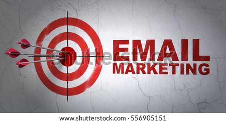 Success business concept: arrows hitting the center of target, Red Email Marketing on wall background, 3D rendering