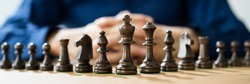 Success Business Strategy. Person With Chess King