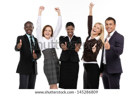 Success Business team. Thumbs up