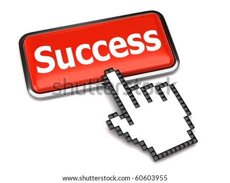 Success button and hand cursor - stock photo