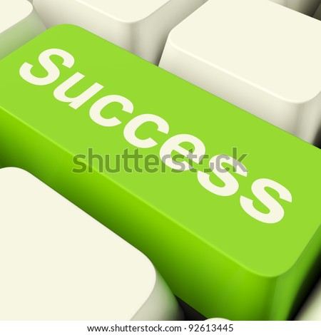 Success Computer Key In Green Showing Achievement And Determinations