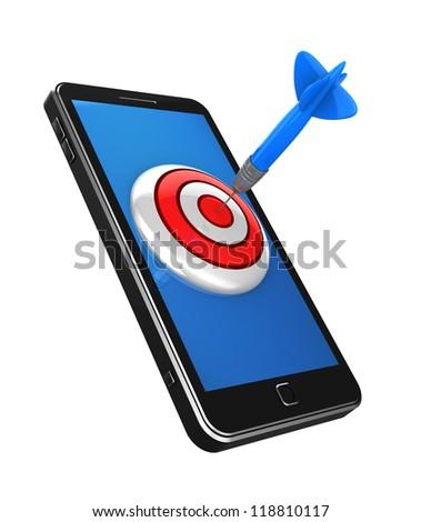 Success concept: dart hitting a target on cellphone