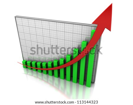 Success concept, graph showing the increase profit