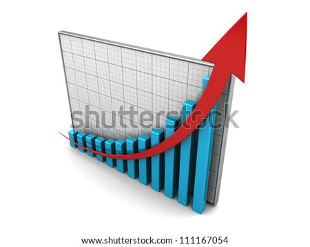 Success concept, graph with pointer up