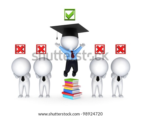 Success concept.Isolated on white background.3d rendered.