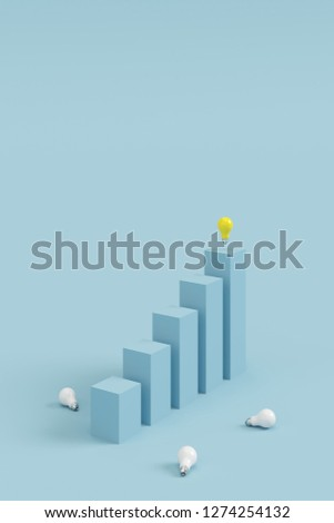 success concept. outstanding yellow light bulb on top blue column and white light bulb falling on blue background. minimal style.