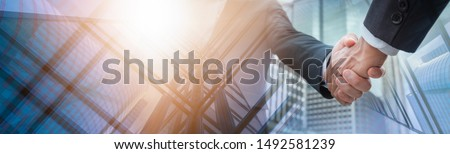 Success Concept. Professional Business Man Suit Handshake Congratulation,Group Business Man Standing over City Panoramic Background. Cooperative Meeting Office People Workplace, Space for Text